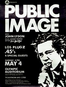 PiL - LA, Olympic Auditorium, USA 4.5.80 Flyer / Poster