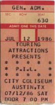 PiL - Austin, Coliseum, USA 12.7.86Gig Ticket