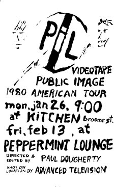 Video tape screening flyer (NY Peppermint lounge 1981)