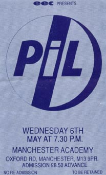 PiL - Manchester, Academy 6.5.92 Gig Ticket