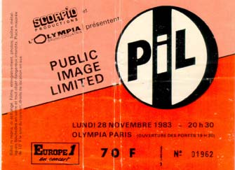 PiL - Paris, Olympia 28.11.83 Gig Ticket