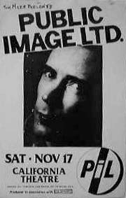 PiL - San Diego, California Theater, USA 17.11.84 Gig Poster