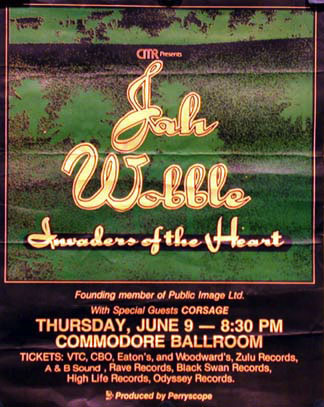 Jah Wobble: Vancouver, Commodore Ballroom, Canada, June 9th 1983 Gig Poster