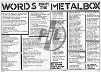Zig Zag - Metal Box Lyric Sheet