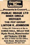 PiL - Creation For Liberation, Manchester, Kings Hall 23.2.79 Flyer