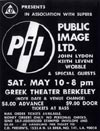 PiL - Berkeley, Greek Theater, USA 10.5.80 Flyer / Poster